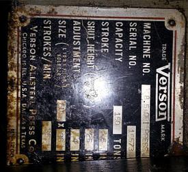 150 Ton Verson No. 8 2
