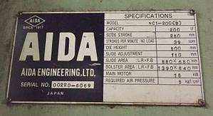 220 Ton Capacity Aida Single Point Gap Press For Sale (5)